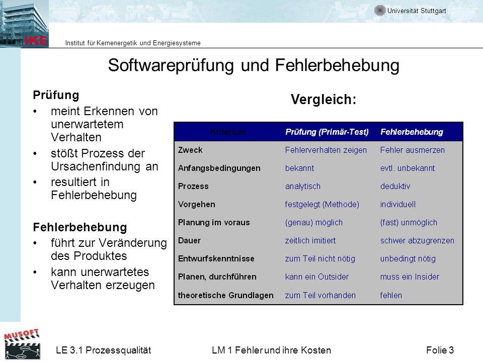 Universität Stuttgart Institut für Kernenergetik und Energiesysteme LE 3.1 ProzessqualitätLM 1 Fehler und ihre KostenFolie 3 Softwareprüfung und Fehle