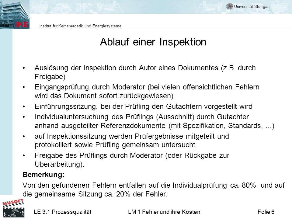 Universität Stuttgart Institut für Kernenergetik und Energiesysteme LE 3.1 ProzessqualitätLM 1 Fehler und ihre KostenFolie 6 Ablauf einer Inspektion Auslösung der Inspektion durch Autor eines Dokumentes (z.B.