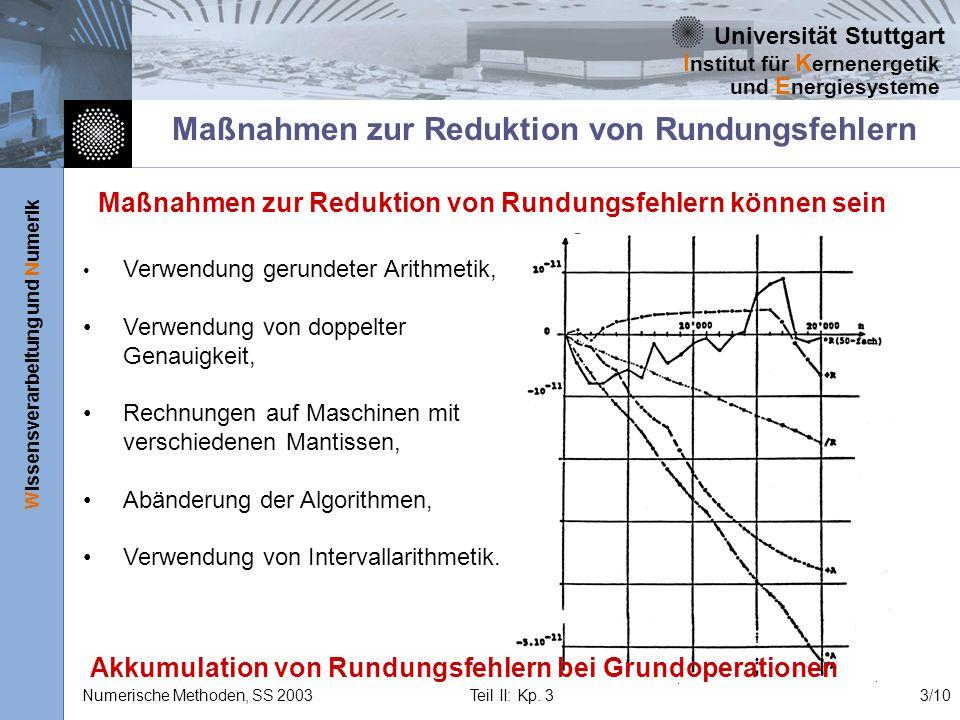 Universität Stuttgart Wissensverarbeitung und Numerik I nstitut für K ernenergetik und E nergiesysteme Numerische Methoden, SS 2003 Teil II: Kp. 33/10