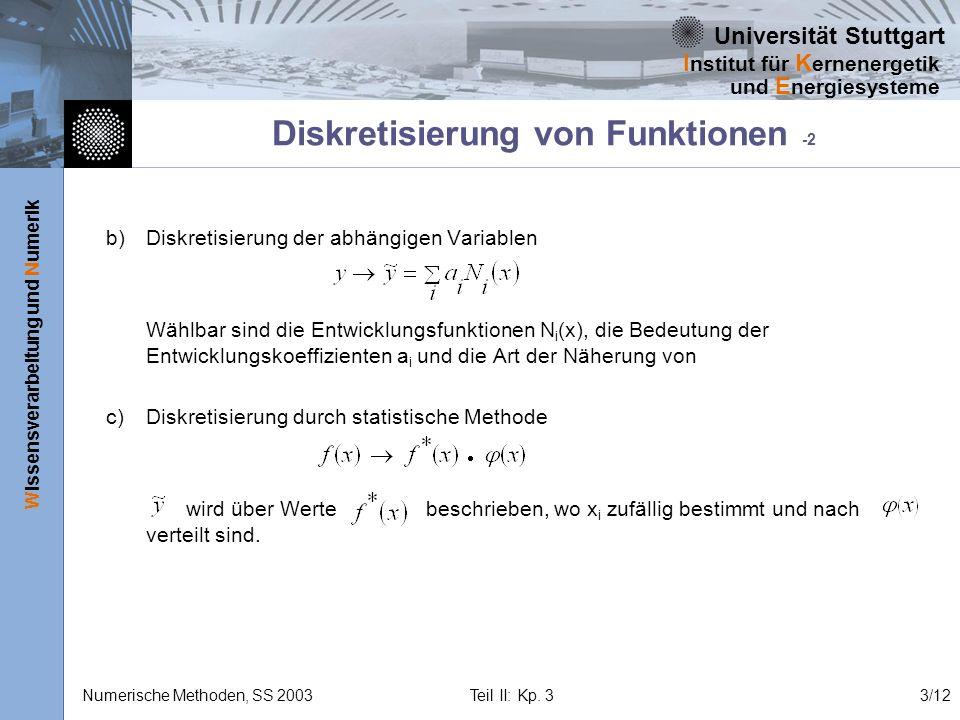 Universität Stuttgart Wissensverarbeitung und Numerik I nstitut für K ernenergetik und E nergiesysteme Numerische Methoden, SS 2003 Teil II: Kp. 33/12