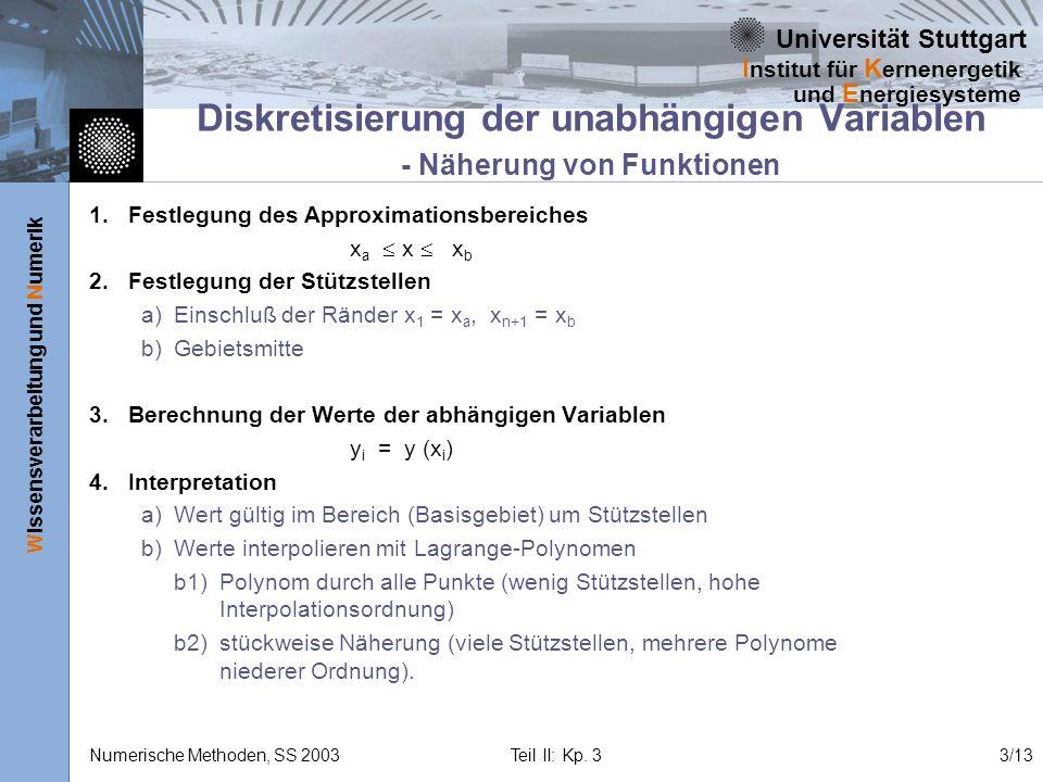 Universität Stuttgart Wissensverarbeitung und Numerik I nstitut für K ernenergetik und E nergiesysteme Numerische Methoden, SS 2003 Teil II: Kp. 33/13