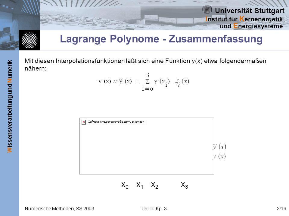 Universität Stuttgart Wissensverarbeitung und Numerik I nstitut für K ernenergetik und E nergiesysteme Numerische Methoden, SS 2003 Teil II: Kp. 33/19