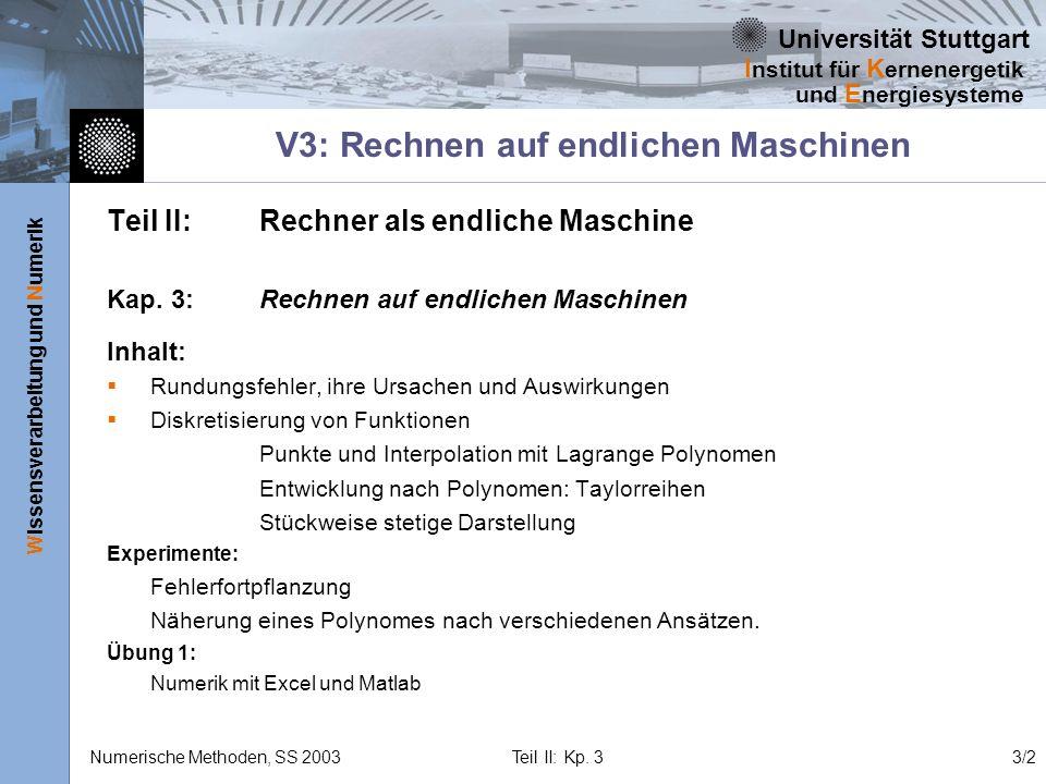 Universität Stuttgart Wissensverarbeitung und Numerik I nstitut für K ernenergetik und E nergiesysteme Numerische Methoden, SS 2003 Teil II: Kp. 33/2