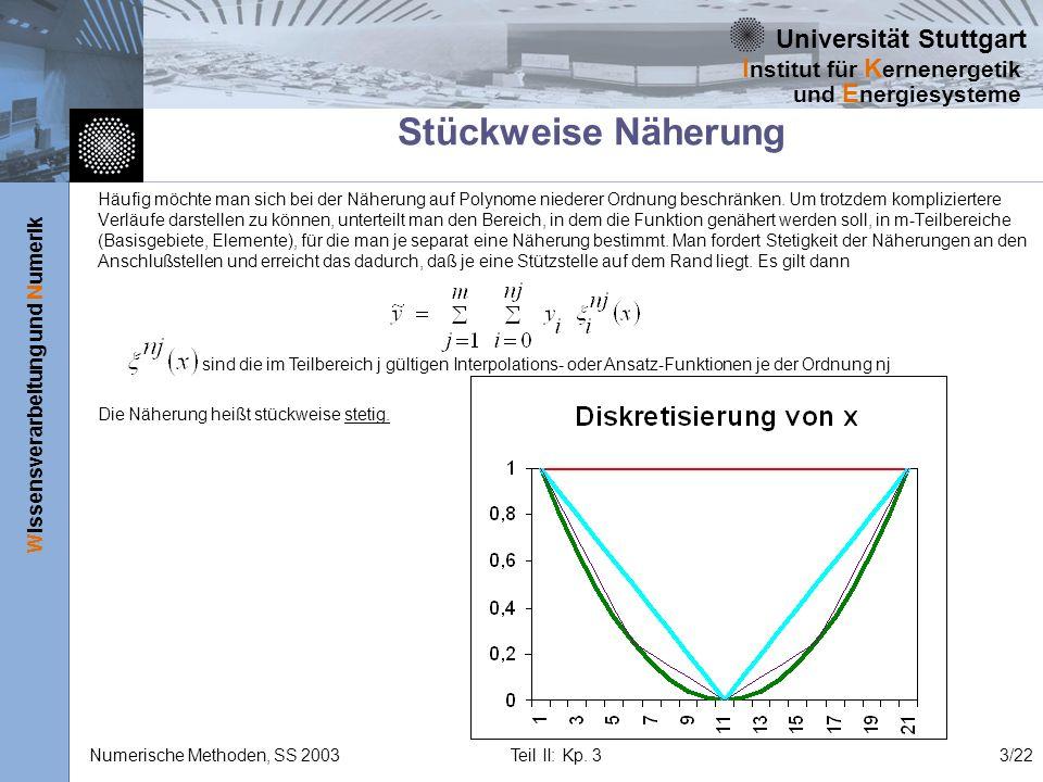 Universität Stuttgart Wissensverarbeitung und Numerik I nstitut für K ernenergetik und E nergiesysteme Numerische Methoden, SS 2003 Teil II: Kp. 33/22