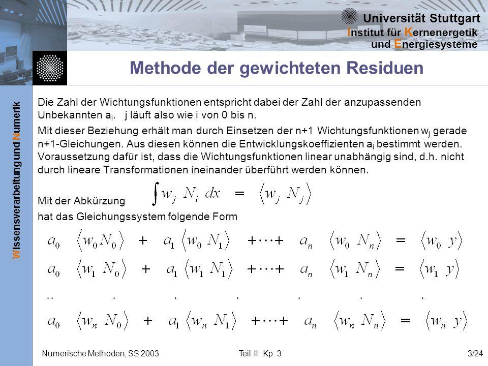 Universität Stuttgart Wissensverarbeitung und Numerik I nstitut für K ernenergetik und E nergiesysteme Numerische Methoden, SS 2003 Teil II: Kp. 33/24