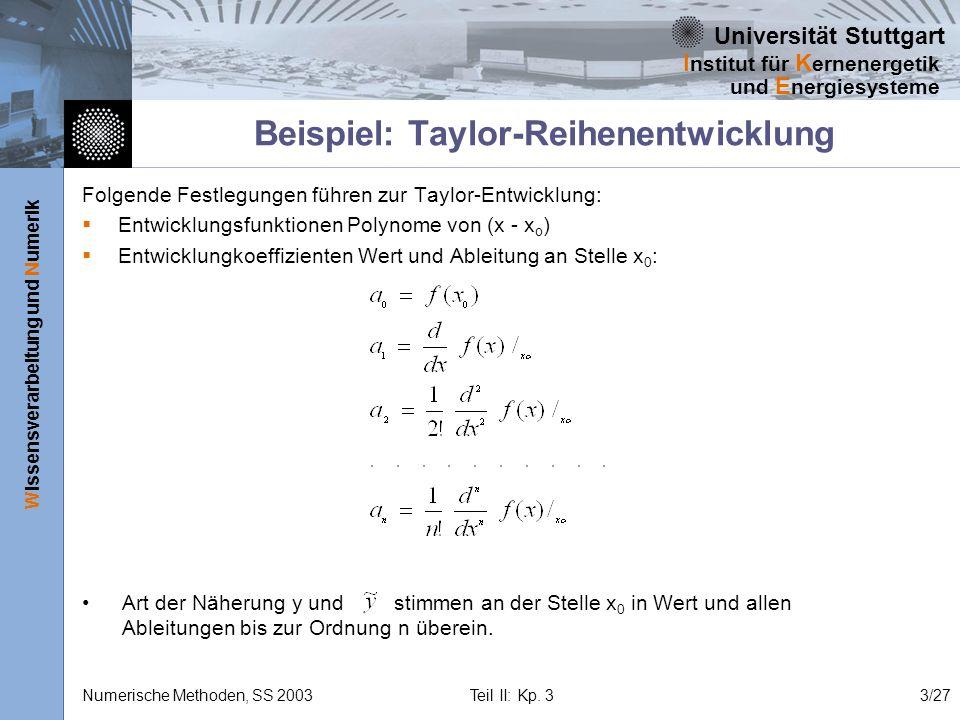 Universität Stuttgart Wissensverarbeitung und Numerik I nstitut für K ernenergetik und E nergiesysteme Numerische Methoden, SS 2003 Teil II: Kp. 33/27