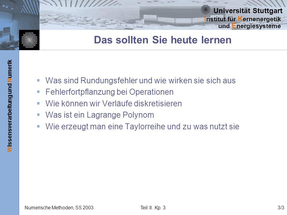 Universität Stuttgart Wissensverarbeitung und Numerik I nstitut für K ernenergetik und E nergiesysteme Numerische Methoden, SS 2003 Teil II: Kp. 33/3