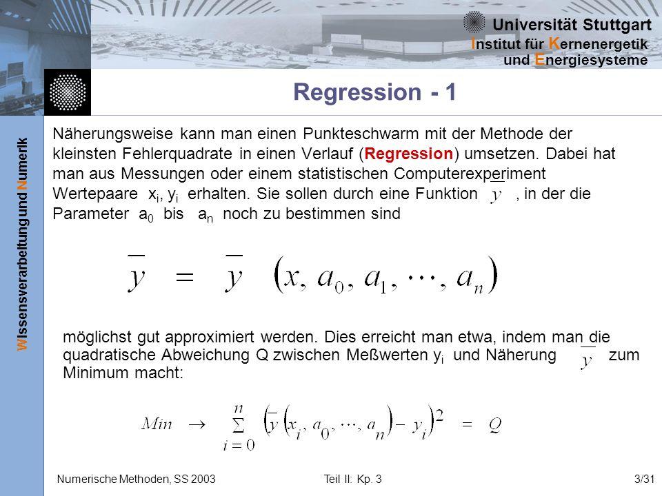 Universität Stuttgart Wissensverarbeitung und Numerik I nstitut für K ernenergetik und E nergiesysteme Numerische Methoden, SS 2003 Teil II: Kp. 33/31