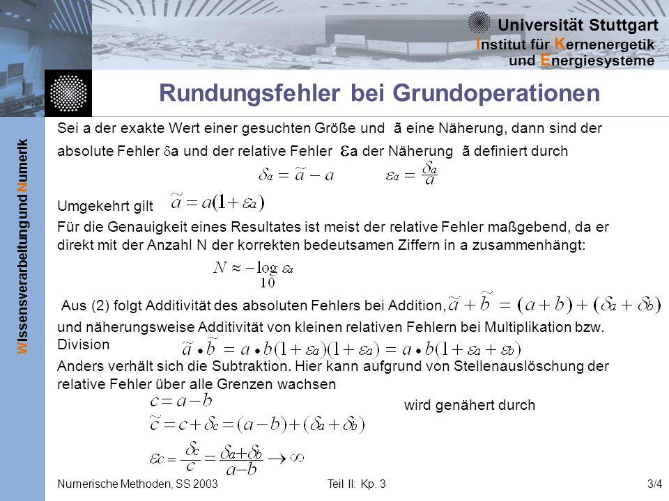 Universität Stuttgart Wissensverarbeitung und Numerik I nstitut für K ernenergetik und E nergiesysteme Numerische Methoden, SS 2003 Teil II: Kp. 33/4