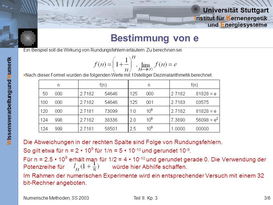 Universität Stuttgart Wissensverarbeitung und Numerik I nstitut für K ernenergetik und E nergiesysteme Numerische Methoden, SS 2003 Teil II: Kp. 33/6