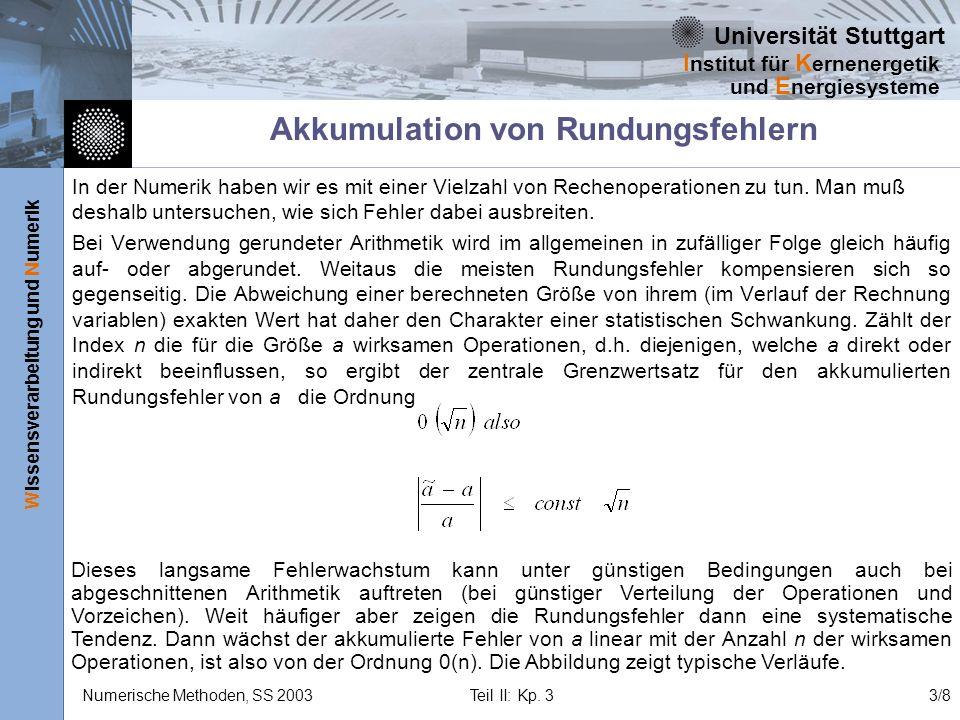 Universität Stuttgart Wissensverarbeitung und Numerik I nstitut für K ernenergetik und E nergiesysteme Numerische Methoden, SS 2003 Teil II: Kp. 33/8