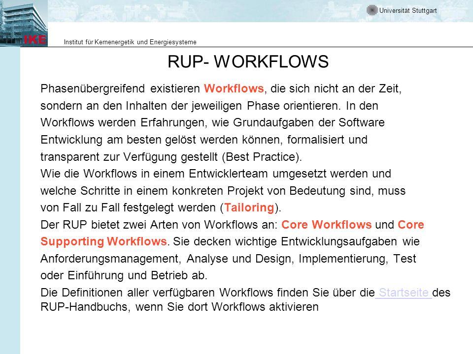 Universität Stuttgart Institut für Kernenergetik und Energiesysteme RUP- WORKFLOWS Phasenübergreifend existieren Workflows, die sich nicht an der Zeit