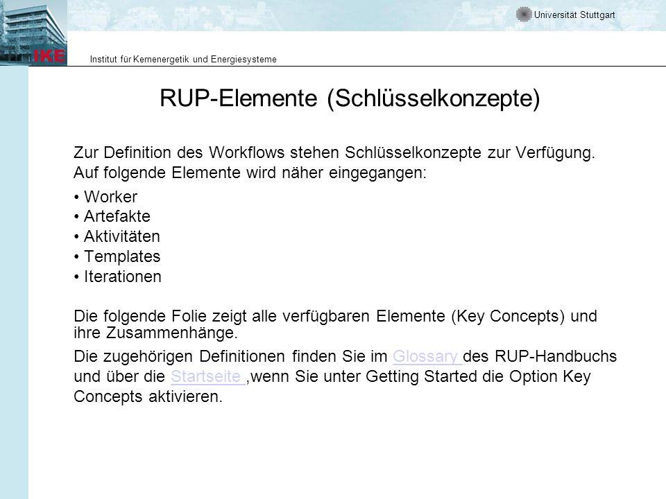 Universität Stuttgart Institut für Kernenergetik und Energiesysteme RUP-Elemente (Schlüsselkonzepte) Zur Definition des Workflows stehen Schlüsselkonz