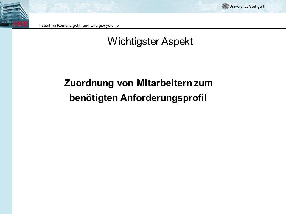 Universität Stuttgart Institut für Kernenergetik und Energiesysteme Wichtigster Aspekt Zuordnung von Mitarbeitern zum benötigten Anforderungsprofil