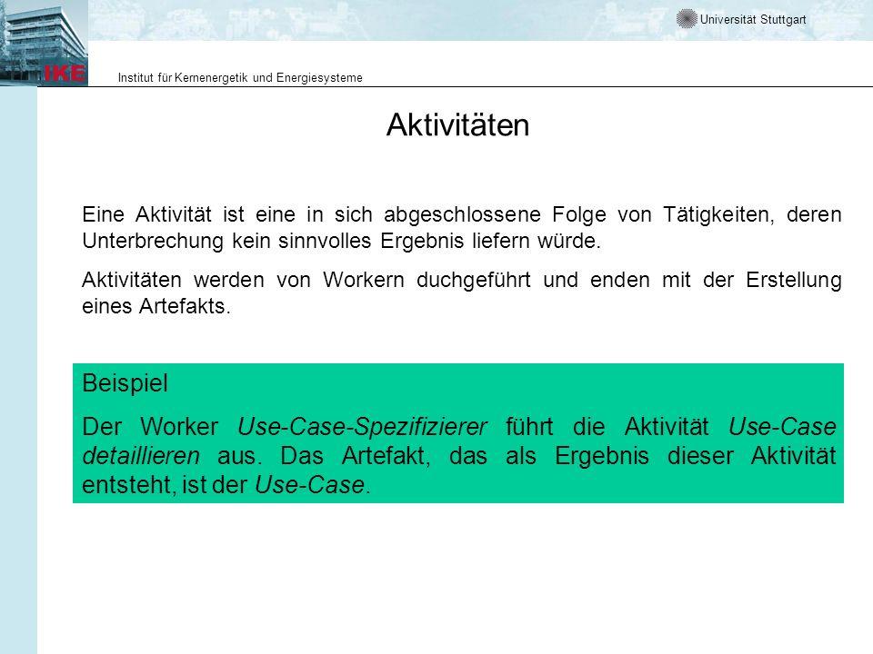 Universität Stuttgart Institut für Kernenergetik und Energiesysteme Aktivitäten Eine Aktivität ist eine in sich abgeschlossene Folge von Tätigkeiten,