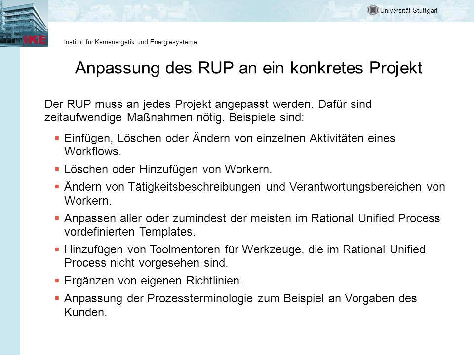 Universität Stuttgart Institut für Kernenergetik und Energiesysteme Anpassung des RUP an ein konkretes Projekt Der RUP muss an jedes Projekt angepasst