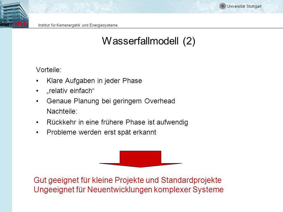 Universität Stuttgart Institut für Kernenergetik und Energiesysteme Wasserfallmodell (2) Vorteile: Klare Aufgaben in jeder Phase relativ einfach Genau