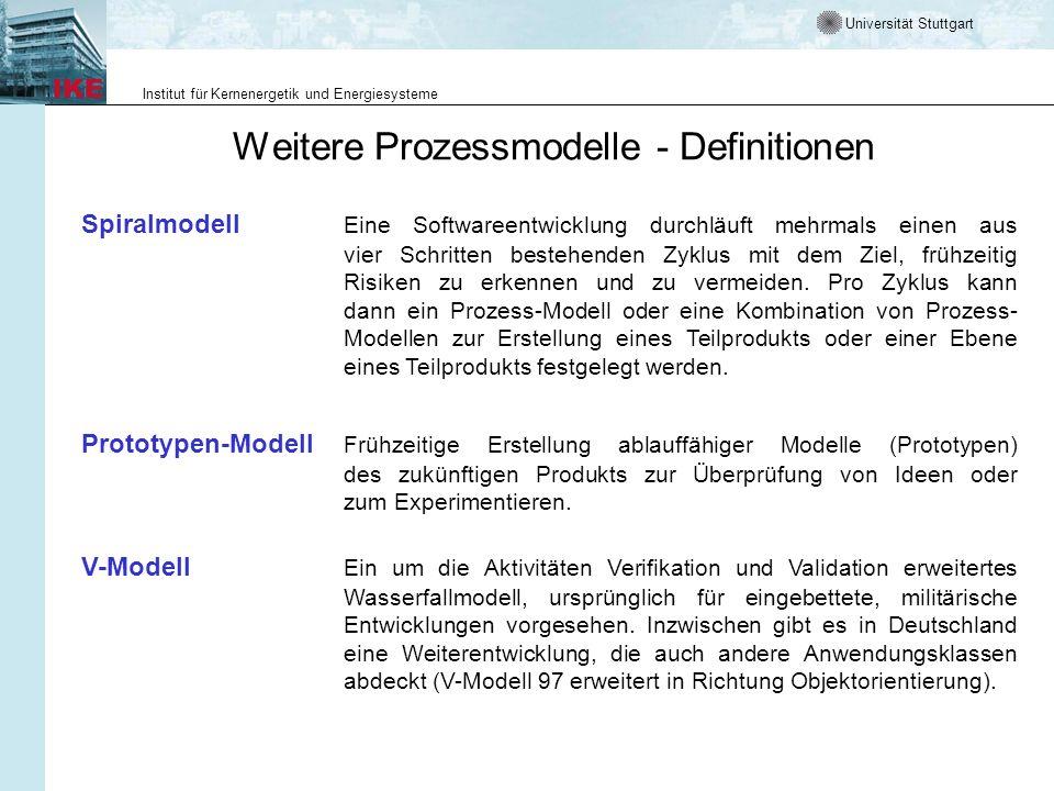 Universität Stuttgart Institut für Kernenergetik und Energiesysteme Weitere Prozessmodelle - Definitionen Spiralmodell Eine Softwareentwicklung durchl