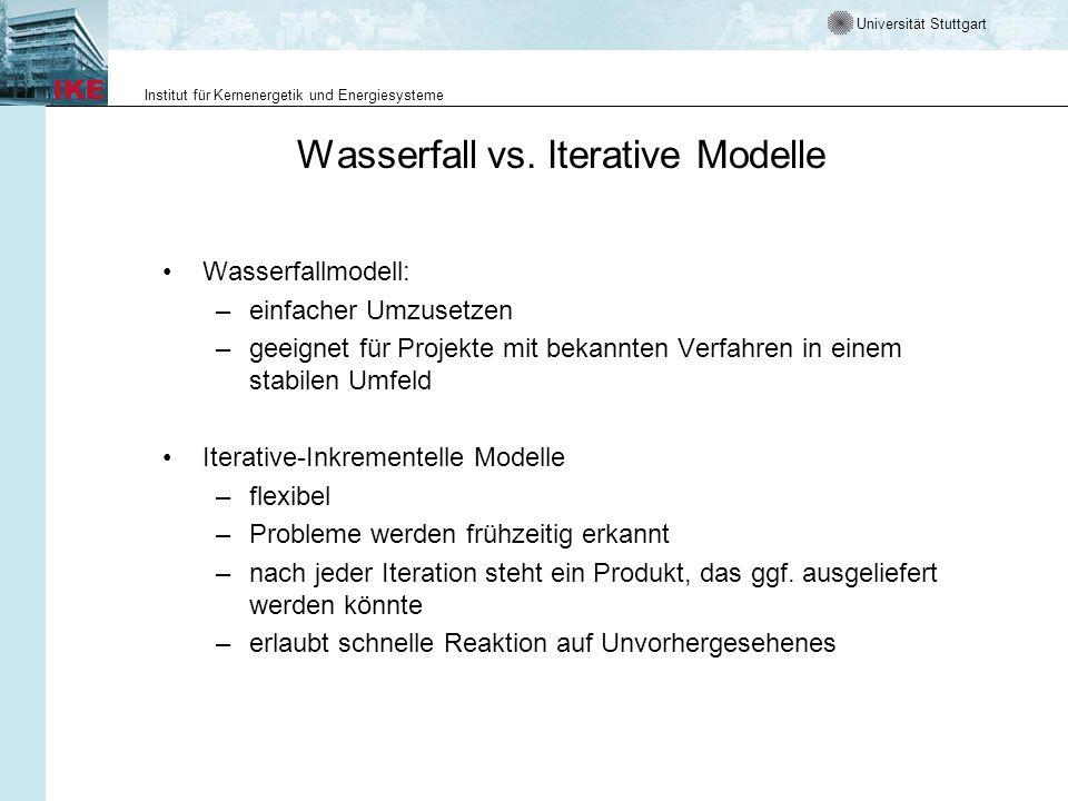 Universität Stuttgart Institut für Kernenergetik und Energiesysteme Wasserfall vs. Iterative Modelle Wasserfallmodell: –einfacher Umzusetzen –geeignet