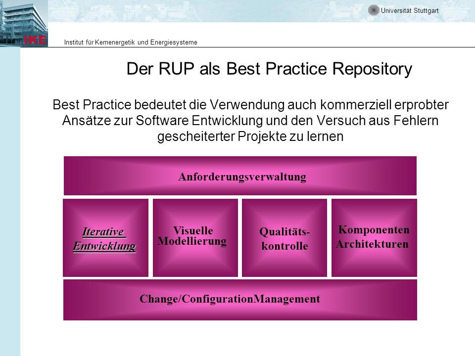 Universität Stuttgart Institut für Kernenergetik und Energiesysteme Der RUP als Best Practice Repository Best Practice bedeutet die Verwendung auch ko