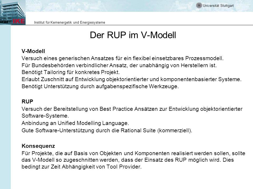 Universität Stuttgart Institut für Kernenergetik und Energiesysteme Der RUP im V-Modell V-Modell Versuch eines generischen Ansatzes für ein flexibel e