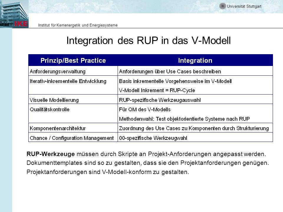 Universität Stuttgart Institut für Kernenergetik und Energiesysteme Integration des RUP in das V-Modell RUP-Werkzeuge müssen durch Skripte an Projekt-