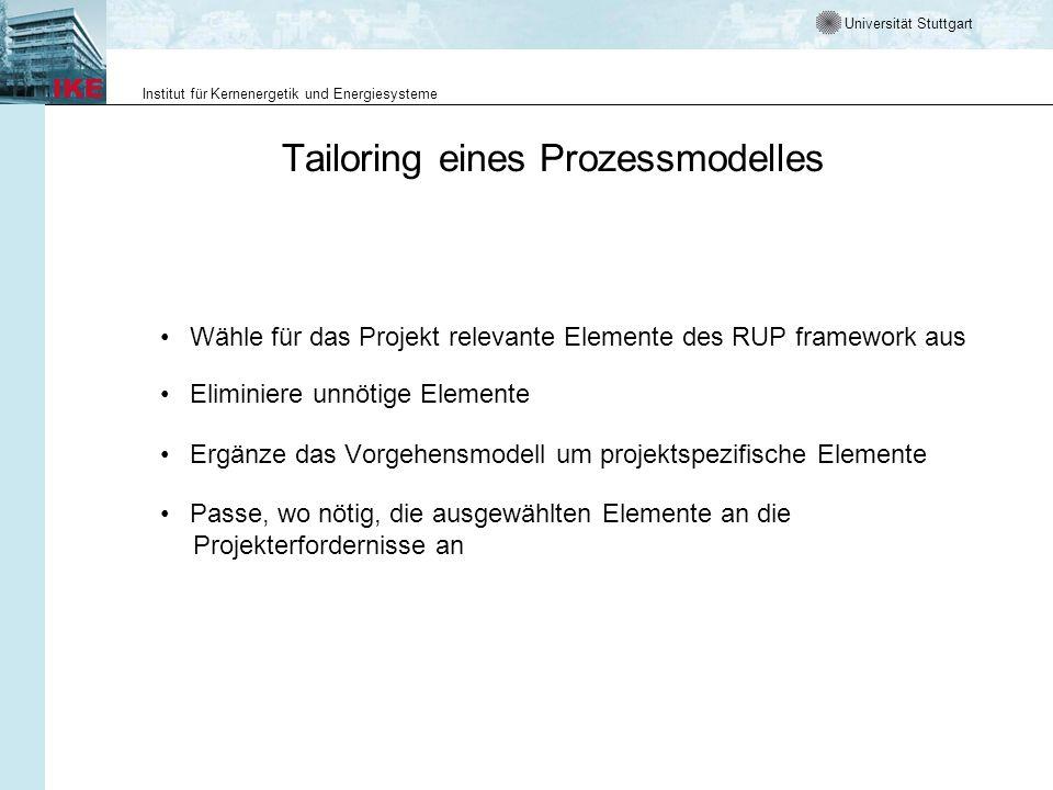 Universität Stuttgart Institut für Kernenergetik und Energiesysteme Tailoring eines Prozessmodelles Wähle für das Projekt relevante Elemente des RUP f