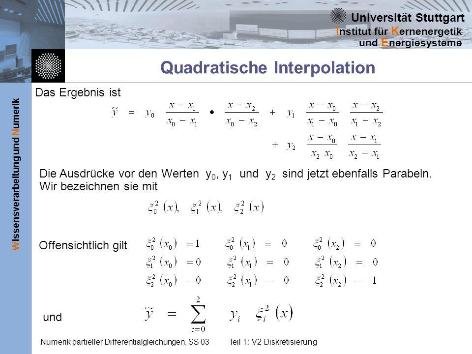 Universität Stuttgart Wissensverarbeitung und Numerik I nstitut für K ernenergetik und E nergiesysteme Numerik partieller Differentialgleichungen, SS 03Teil 1: V2 Diskretisierung Quadratische Interpolation Das Ergebnis ist Die Ausdrücke vor den Werten y 0, y 1 und y 2 sind jetzt ebenfalls Parabeln.