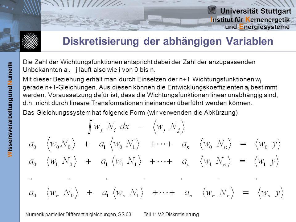 Universität Stuttgart Wissensverarbeitung und Numerik I nstitut für K ernenergetik und E nergiesysteme Numerik partieller Differentialgleichungen, SS 03Teil 1: V2 Diskretisierung Diskretisierung der abhängigen Variablen Die Zahl der Wichtungsfunktionen entspricht dabei der Zahl der anzupassenden Unbekannten a i.
