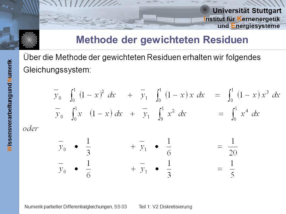 Universität Stuttgart Wissensverarbeitung und Numerik I nstitut für K ernenergetik und E nergiesysteme Numerik partieller Differentialgleichungen, SS 03Teil 1: V2 Diskretisierung Methode der gewichteten Residuen Über die Methode der gewichteten Residuen erhalten wir folgendes Gleichungssystem: