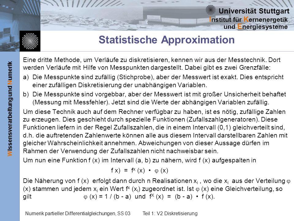 Universität Stuttgart Wissensverarbeitung und Numerik I nstitut für K ernenergetik und E nergiesysteme Numerik partieller Differentialgleichungen, SS 03Teil 1: V2 Diskretisierung Statistische Approximation Eine dritte Methode, um Verläufe zu diskretisieren, kennen wir aus der Messtechnik.