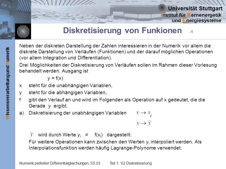 Universität Stuttgart Wissensverarbeitung und Numerik I nstitut für K ernenergetik und E nergiesysteme Numerik partieller Differentialgleichungen, SS 03Teil 1: V2 Diskretisierung Diese Fragen sollten Sie beantworten können Geben Sie für eine Funktion f(x) die zugehörige Taylor-Reihe an Empfehlen Sie einen Ansatz zur Näherung einer Funktion f(x), wenn deren Verlauf optimal beschrieben werden soll.