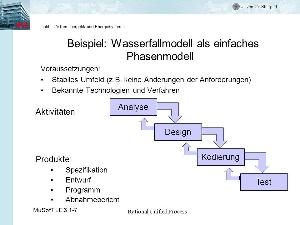 Universität Stuttgart Institut für Kernenergetik und Energiesysteme MuSofT LE 3.1-7 Rational Unified Process Beispiel: Wasserfallmodell als einfaches