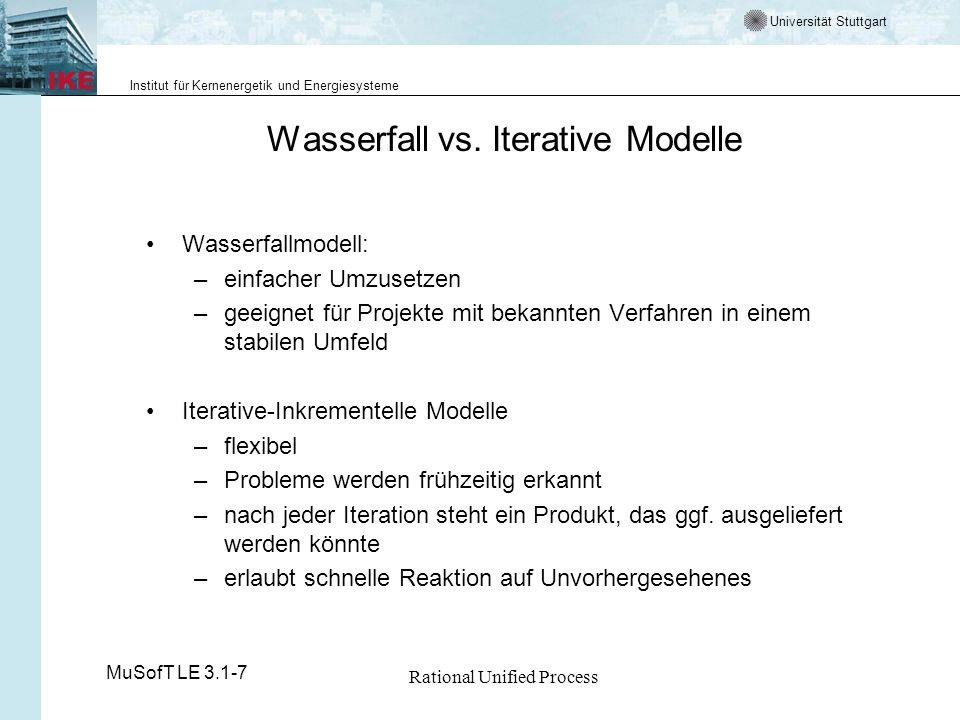 Universität Stuttgart Institut für Kernenergetik und Energiesysteme MuSofT LE 3.1-7 Rational Unified Process Wasserfall vs. Iterative Modelle Wasserfa