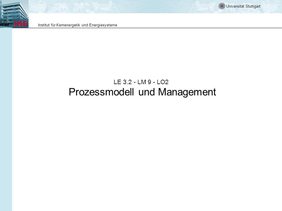Universität Stuttgart Institut für Kernenergetik und Energiesysteme LE 3.2 - LM 9 - LO2 Prozessmodell und Management