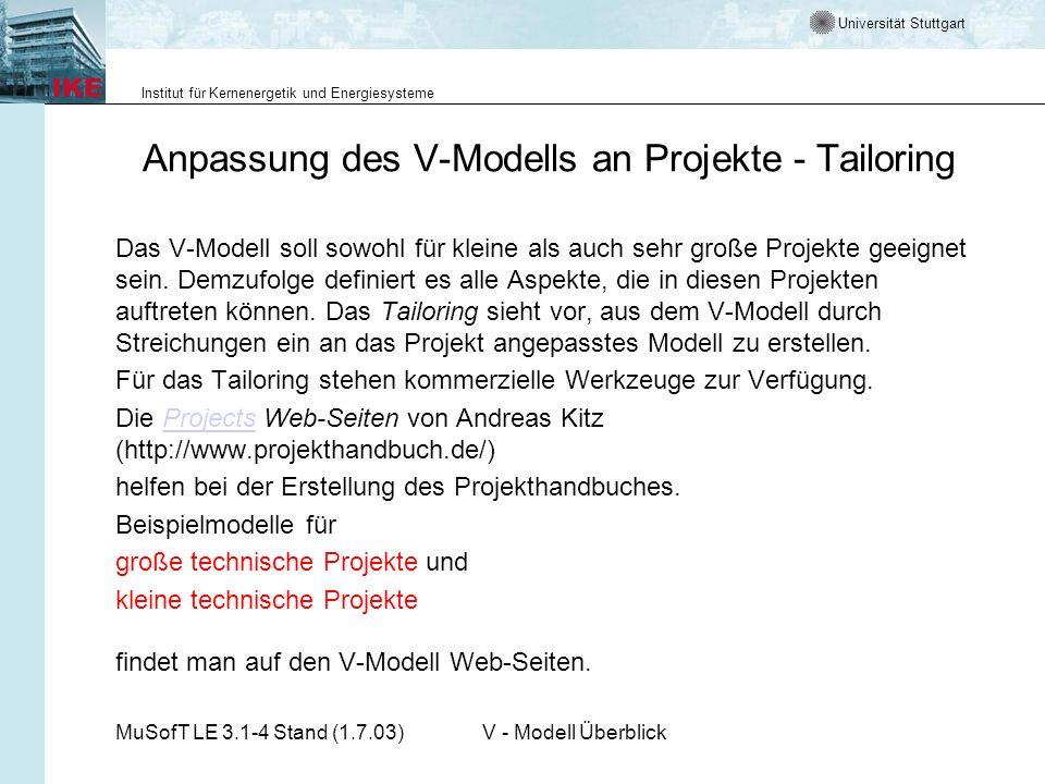 Universität Stuttgart Institut für Kernenergetik und Energiesysteme MuSofT LE 3.1-4 Stand (1.7.03)V - Modell Überblick Anpassung des V-Modells an Proj