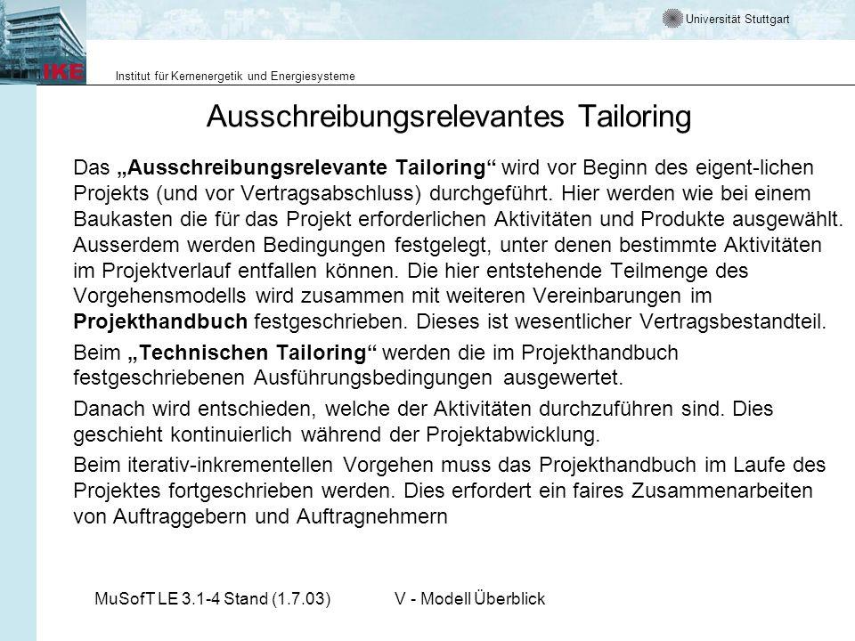 Universität Stuttgart Institut für Kernenergetik und Energiesysteme MuSofT LE 3.1-4 Stand (1.7.03)V - Modell Überblick Ausschreibungsrelevantes Tailor