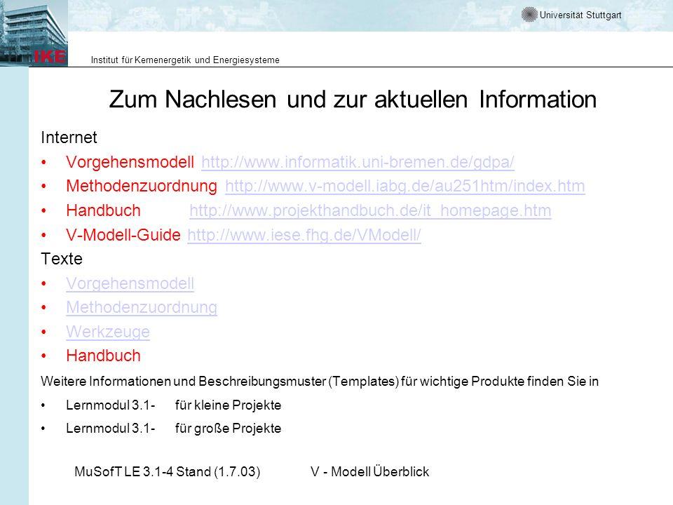 Universität Stuttgart Institut für Kernenergetik und Energiesysteme MuSofT LE 3.1-4 Stand (1.7.03)V - Modell Überblick Zum Nachlesen und zur aktuellen