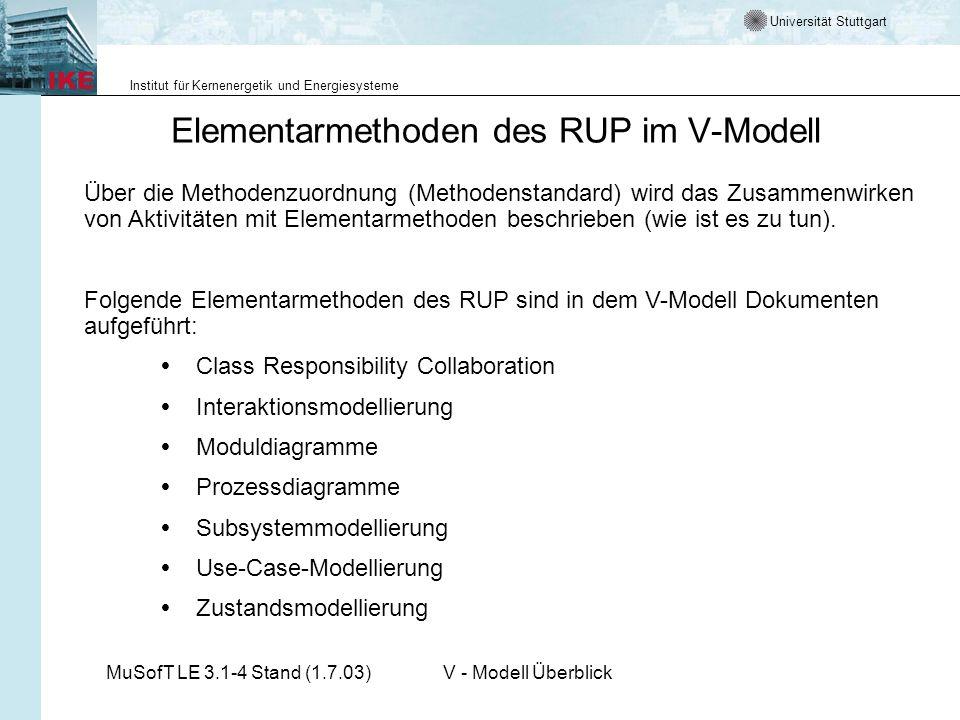 Universität Stuttgart Institut für Kernenergetik und Energiesysteme MuSofT LE 3.1-4 Stand (1.7.03)V - Modell Überblick Über die Methodenzuordnung (Met