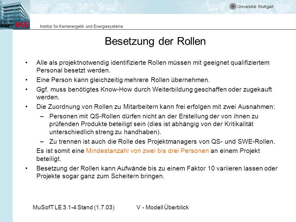 Universität Stuttgart Institut für Kernenergetik und Energiesysteme MuSofT LE 3.1-4 Stand (1.7.03)V - Modell Überblick Besetzung der Rollen Alle als p