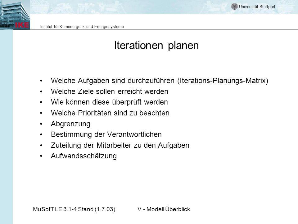 Universität Stuttgart Institut für Kernenergetik und Energiesysteme MuSofT LE 3.1-4 Stand (1.7.03)V - Modell Überblick Iterationen planen Welche Aufga