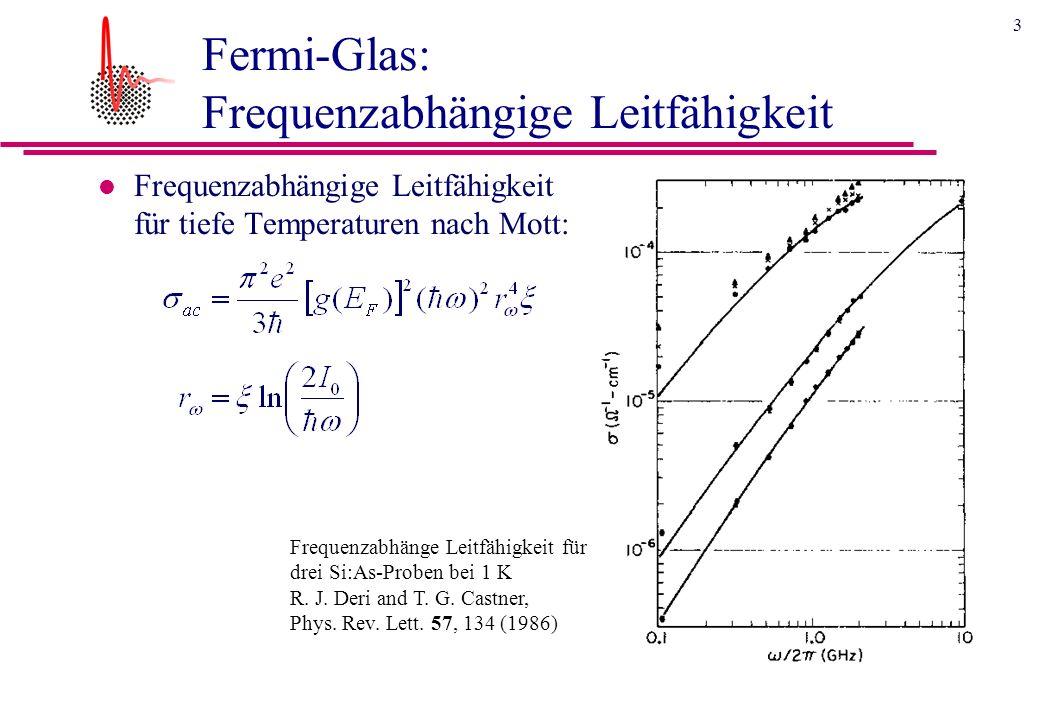 3 Fermi-Glas: Frequenzabhängige Leitfähigkeit l Frequenzabhängige Leitfähigkeit für tiefe Temperaturen nach Mott: Frequenzabhänge Leitfähigkeit für drei Si:As-Proben bei 1 K R.