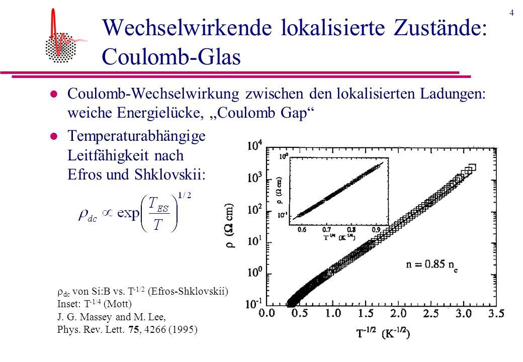 4 Wechselwirkende lokalisierte Zustände: Coulomb-Glas l Coulomb-Wechselwirkung zwischen den lokalisierten Ladungen: weiche Energielücke, Coulomb Gap l Temperaturabhängige Leitfähigkeit nach Efros und Shklovskii: dc von Si:B vs.