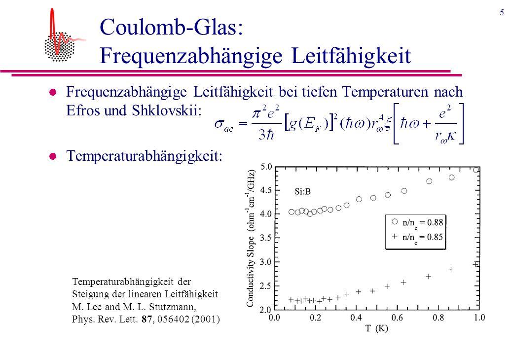 5 Coulomb-Glas: Frequenzabhängige Leitfähigkeit l Frequenzabhängige Leitfähigkeit bei tiefen Temperaturen nach Efros und Shklovskii: l Temperaturabhängigkeit: Temperaturabhängigkeit der Steigung der linearen Leitfähigkeit M.