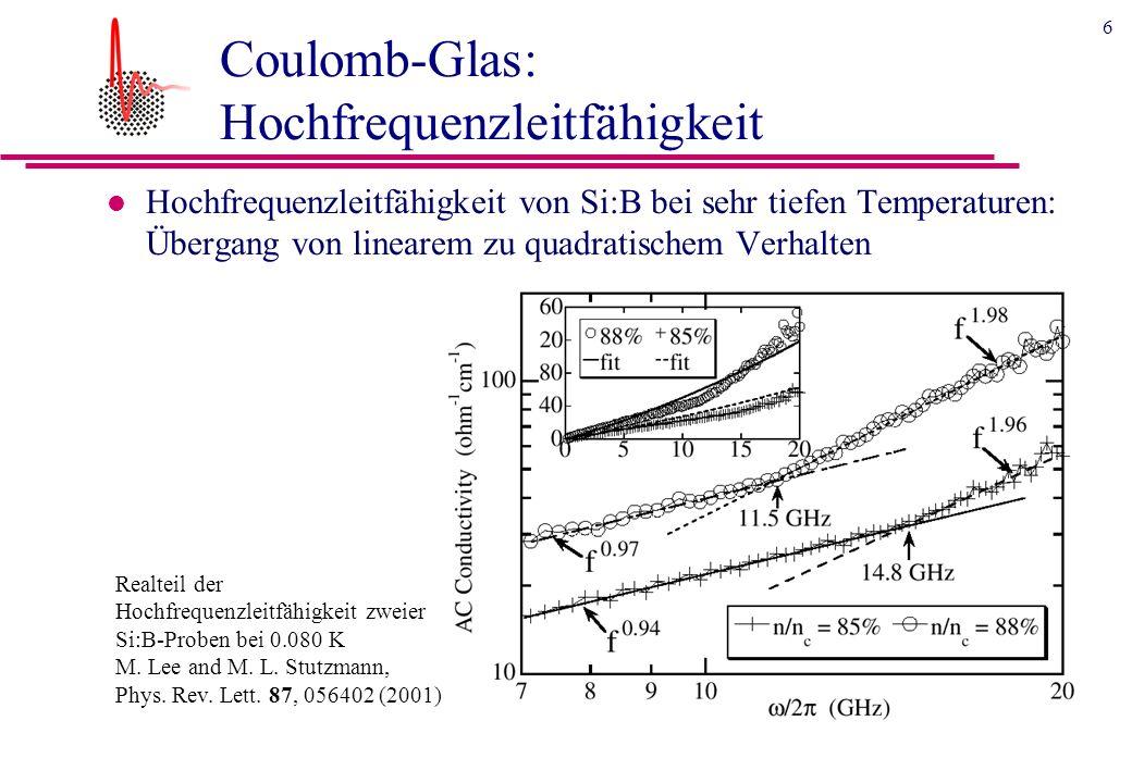 6 Coulomb-Glas: Hochfrequenzleitfähigkeit l Hochfrequenzleitfähigkeit von Si:B bei sehr tiefen Temperaturen: Übergang von linearem zu quadratischem Verhalten Realteil der Hochfrequenzleitfähigkeit zweier Si:B-Proben bei 0.080 K M.