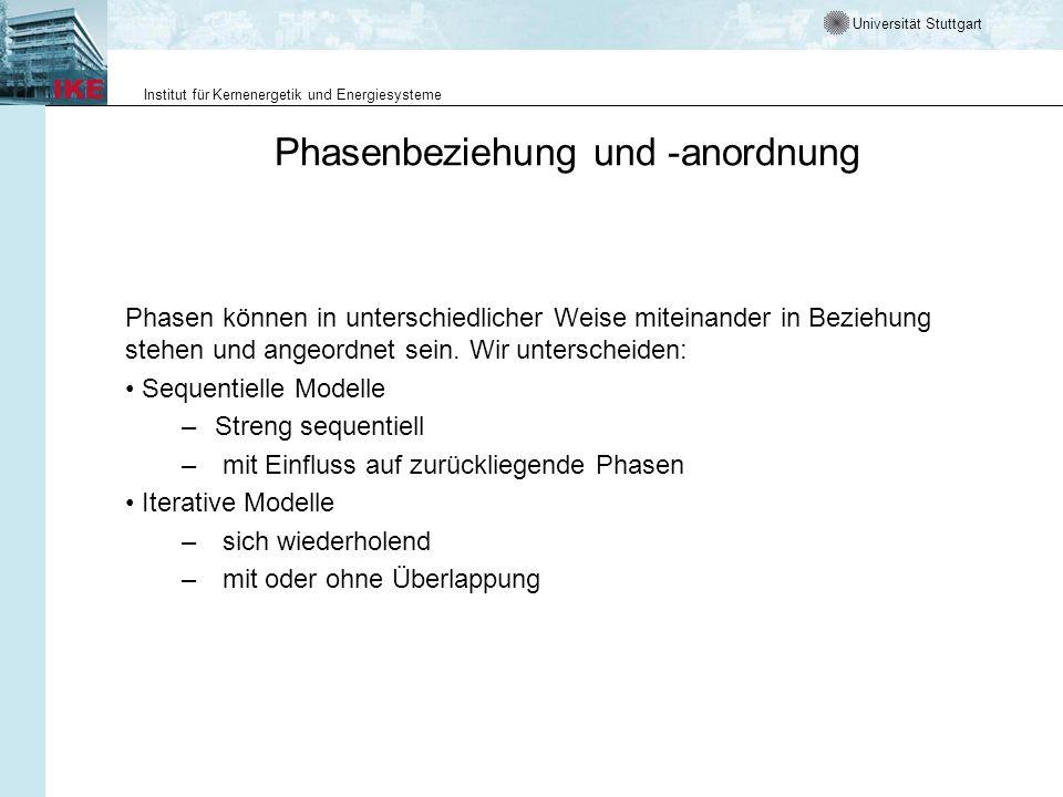 Universität Stuttgart Institut für Kernenergetik und Energiesysteme Phasenbeziehung und -anordnung Phasen können in unterschiedlicher Weise miteinande