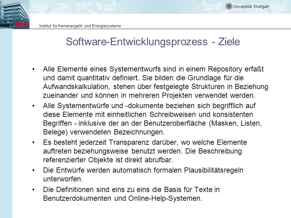 Universität Stuttgart Institut für Kernenergetik und Energiesysteme Software-Entwicklungsprozess - Ziele Alle Elemente eines Systementwurfs sind in ei
