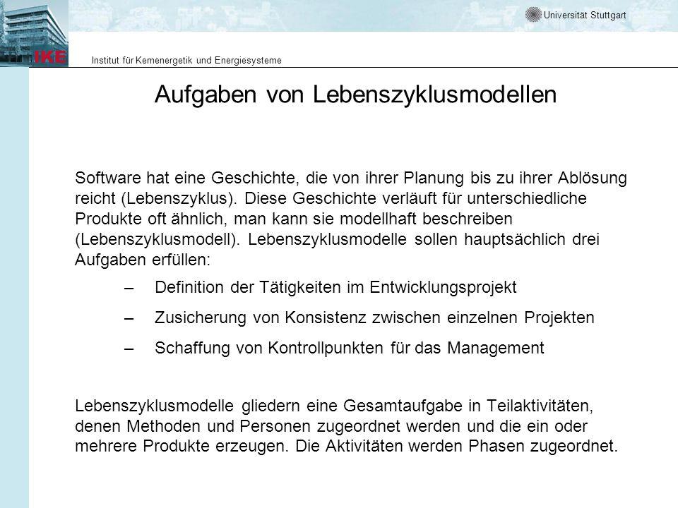 Universität Stuttgart Institut für Kernenergetik und Energiesysteme Aufgaben von Lebenszyklusmodellen Software hat eine Geschichte, die von ihrer Plan