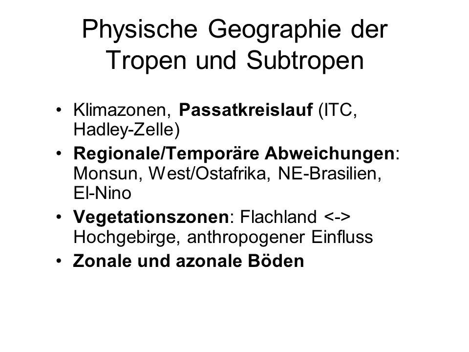 Physische Geographie der Tropen und Subtropen Klimazonen, Passatkreislauf (ITC, Hadley-Zelle) Regionale/Temporäre Abweichungen: Monsun, West/Ostafrika