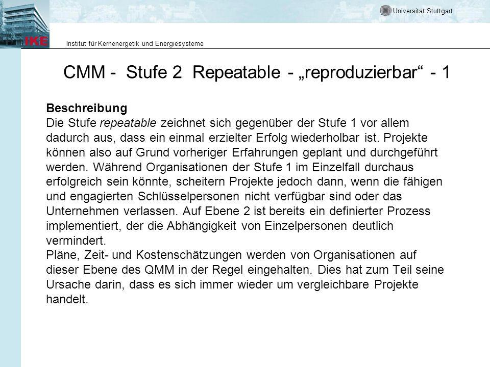 Universität Stuttgart Institut für Kernenergetik und Energiesysteme CMM - Stufe 2 Repeatable - reproduzierbar - 1 Beschreibung Die Stufe repeatable ze